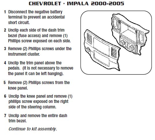 2002 Chevrolet Impala Installation Parts, harness, wires, kits
