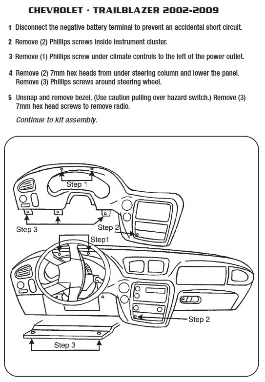 2002 Chevrolet Trailblazer Installation Parts, harness, wires, kits