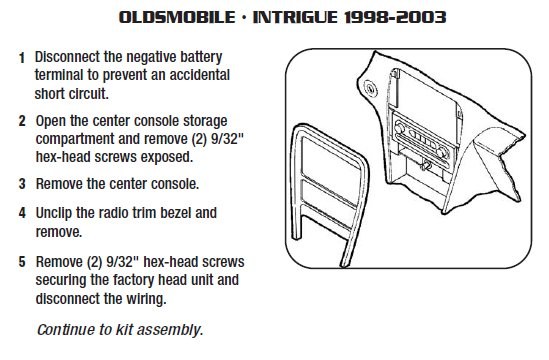 2002 Oldsmobile Intrigue Installation Parts, harness, wires, kits