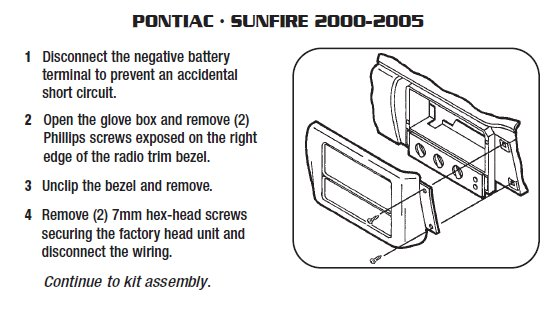 2002 Pontiac Sunfire Installation Parts, harness, wires, kits