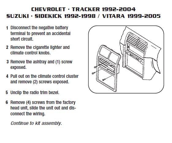 2003 Suzuki Grand vitara Installation Parts, harness, wires, kits