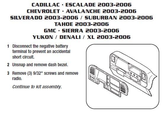 2004 Cadillac Escalade Installation Parts, harness, wires, kits