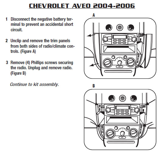 2005 Chevrolet Aveo Installation Parts, harness, wires, kits