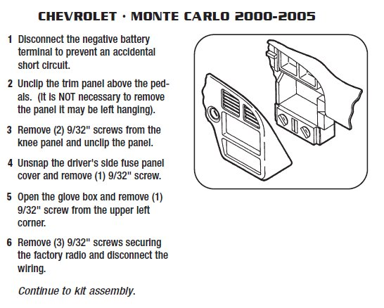 2005 Chevrolet Monte carlo Installation Parts, harness, wires, kits