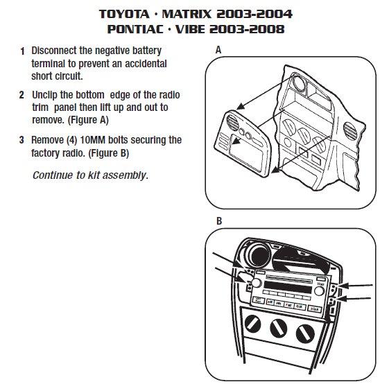 2005 Pontiac Vibe Installation Parts, harness, wires, kits