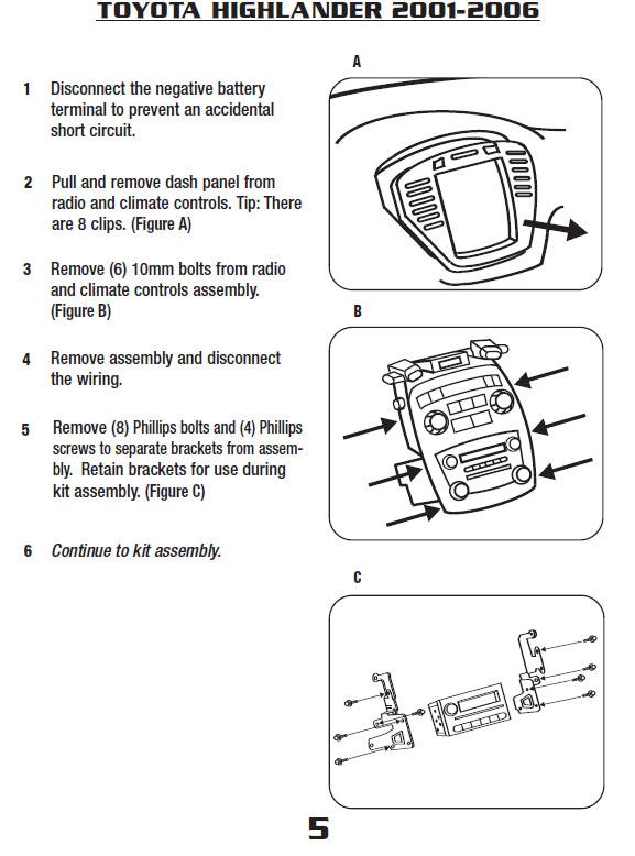 2005 Toyota Highlander Installation Parts, harness, wires, kits