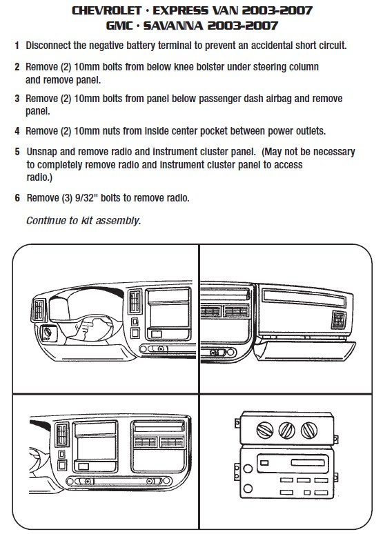 2006 Chevrolet Express van Installation Parts, harness, wires, kits