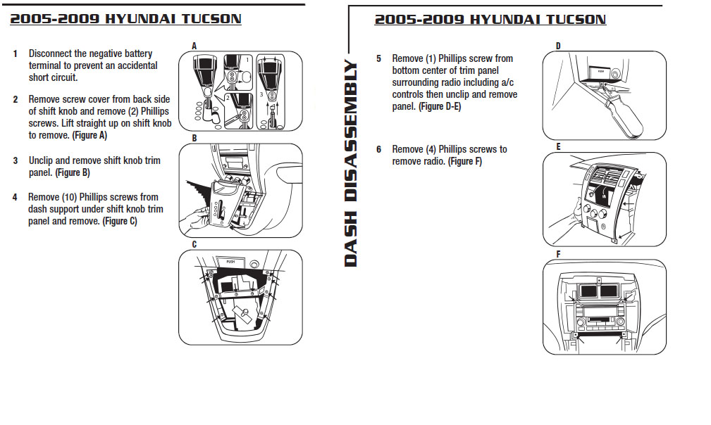 2007 Hyundai Tucson Installation Parts, harness, wires, kits