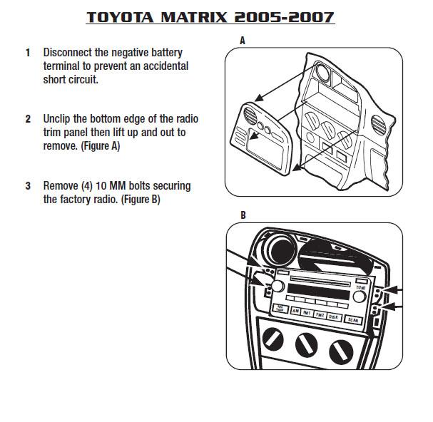 2007 Toyota Matrix Installation Parts, harness, wires, kits