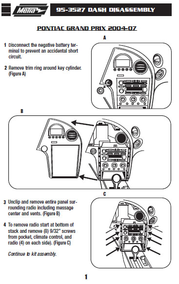 2002 grand prix radio install kit