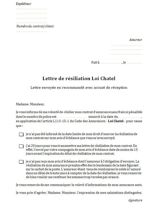 lettre resiliation contrat tacite reconduction
