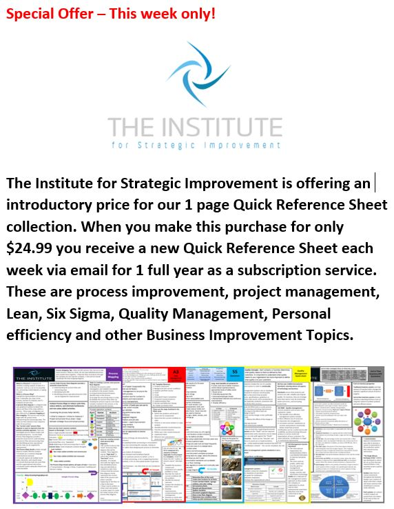 Quick Reference Sheet - The Institute for Strategic Improvement