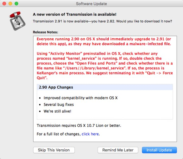 Mac Users Hit by Rare Ransomware Attack, Spread via Transmission