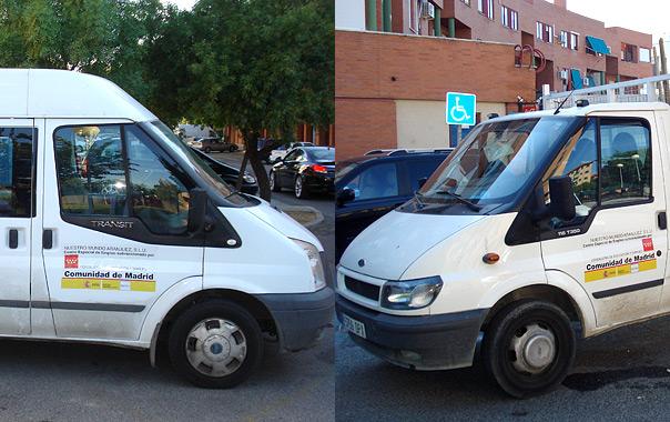 Una furgoneta y un camión pertenecientes a la flota del CEE.
