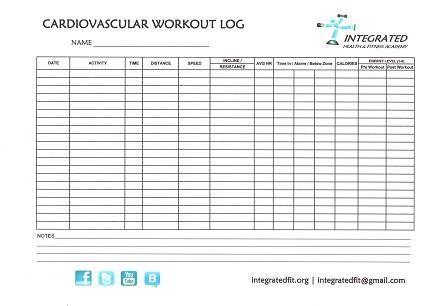 Free Downloadable Workout Logs