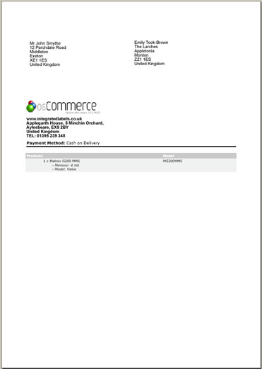 osCommerce Invoice and Packing Slip with Integrated Mailing Label