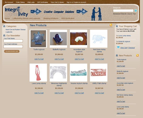 Big Commerce samples eCommerce by IntegriTivity Website Design - product list samples