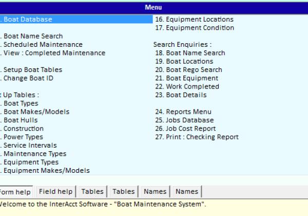 Boats Database Main Menu