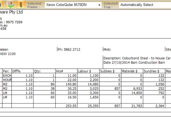 Quick Estimate – Printable Report