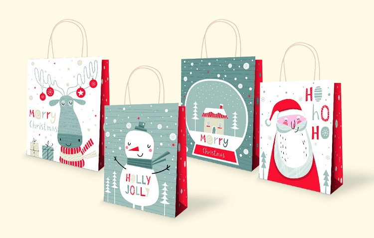 Wholesale Vertical Large Christmas Kraft Gift bags Assorted - vertical designs