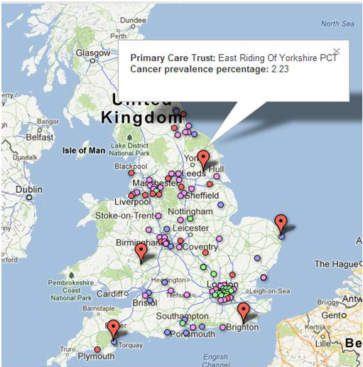 Mapped: England's cancer prevalence by PCT (2011)