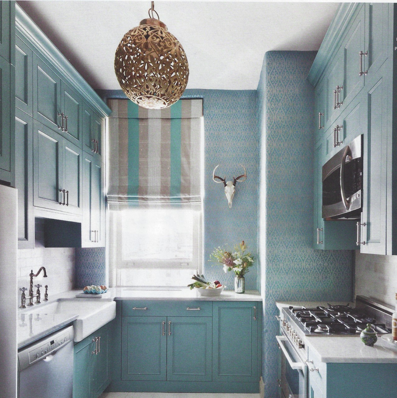 Black And Gray Wallpaper Opaque Turquoise Kitchen Interiors By Color