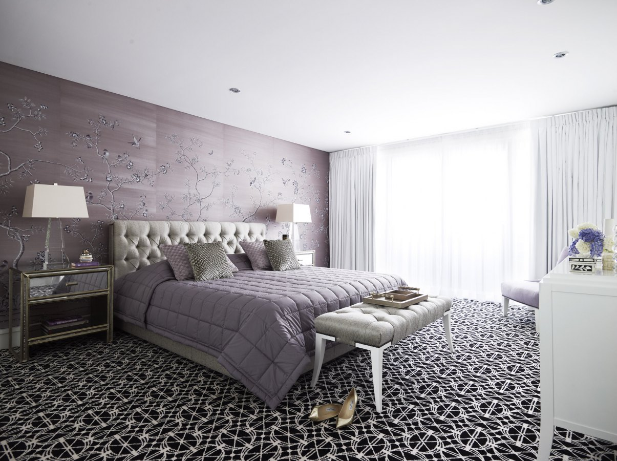 Purple And Black Bedroom Wallpaper Soft And Hard Interiors By Color