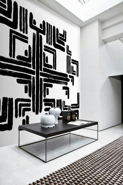 3d Wallpaper Decorating Ideas Black White Geometric Art Interiors By Color