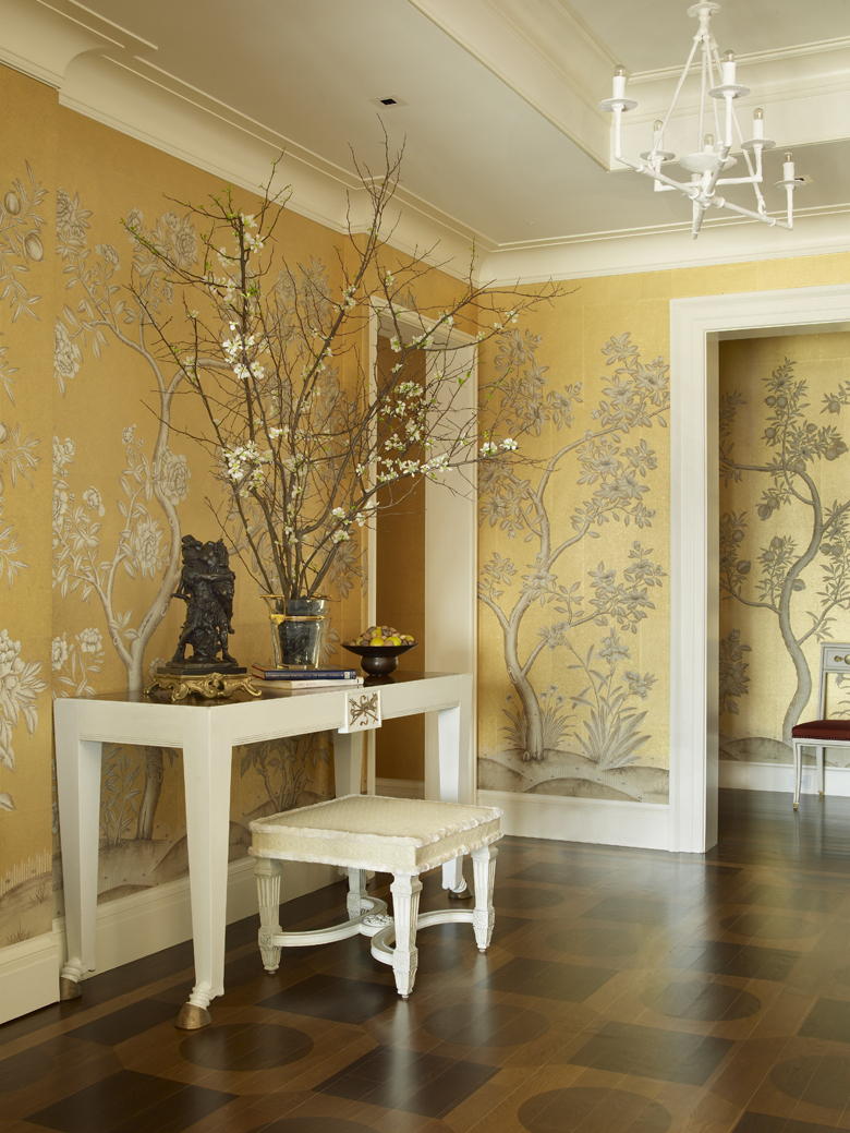 Black And Gray Wallpaper Yellow Golden Foyer Interiors By Color