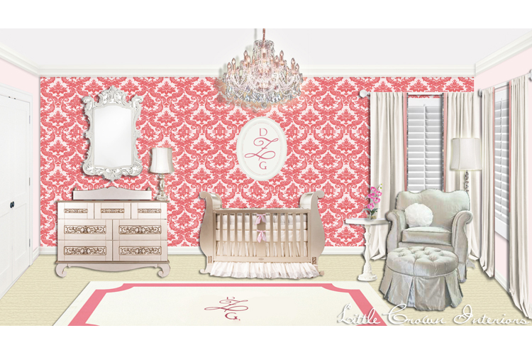 Wallpaper Ideas For Baby Girl Nursery Pink Damask Nursery Interiors By Color