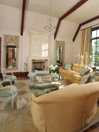 French Inspired Living Room with Limestone Fireplace ...