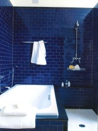 Deep Dark Blue Bathroom - Interiors By Color