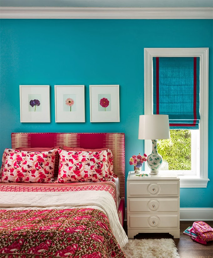 Bright Turquoise Wallpaper For Girls Room Turquoise Red And Pink Bedrooms Interiors By Color