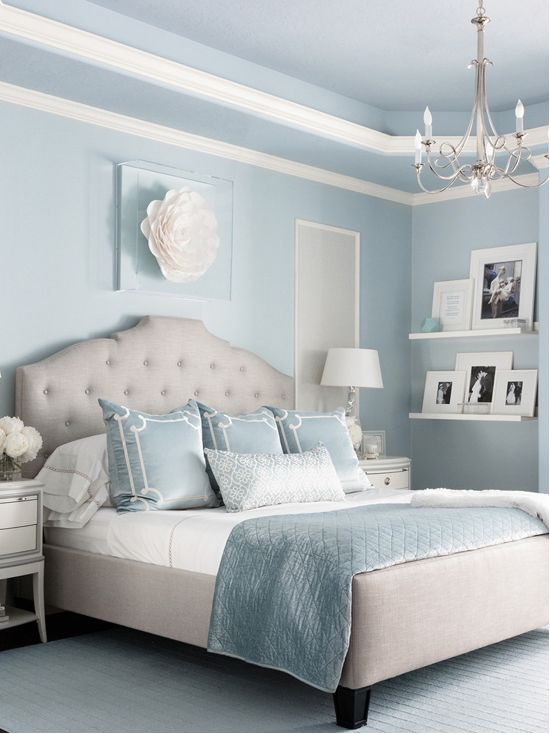 Black And White Wallpaper Bedroom Ideas Benjamin Moore Brittany Blue Bedroom Interiors By Color