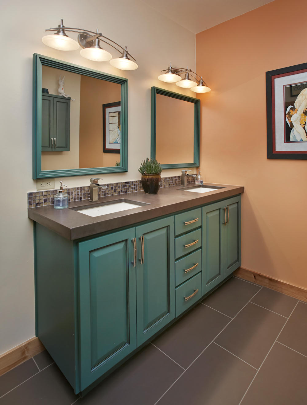 bathrooms kitchen remodeling tucson az accessible roll Eclectic Guest Bath Slate countertop with dual under mounted sinks and iridescent glass tile backsplash Pool bathroom remodel