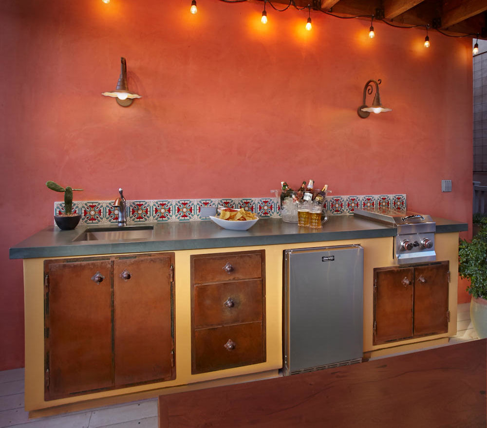 exteriors kitchen remodeling tucson az Rustic Mexican Outdoor Kitchen Green slate countertop with Mexican tile backsplash