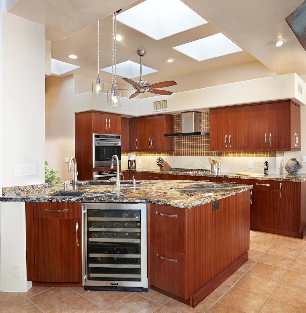 kitchens kitchen remodels Glass tile and travertine Contemporary Modern Ribbon cut stained mahogany cabinetry with volcano granite countertops