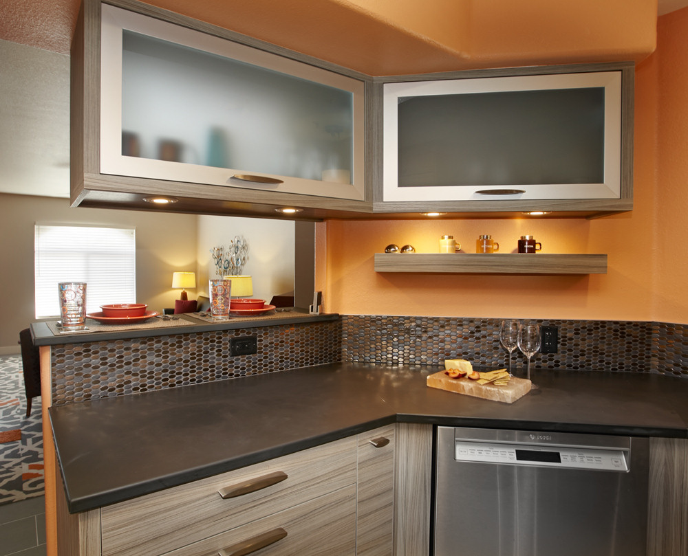 kitchens kitchen remodeling tucson az Butcher block Urban Modern Structured laminate cabinets in Stone with stainless steel appliances