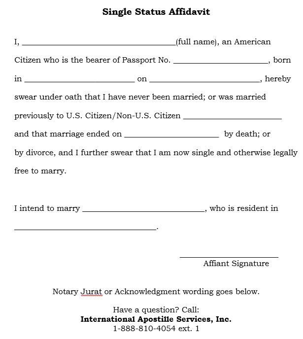 How to Apostille a Single Status Affidavit - example of a sworn affidavit