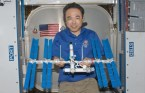 Lego model of ISS created while onboard the real thing