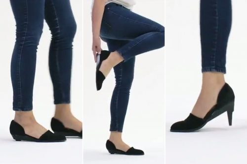 Hightech heels transform into flats with the push of a button