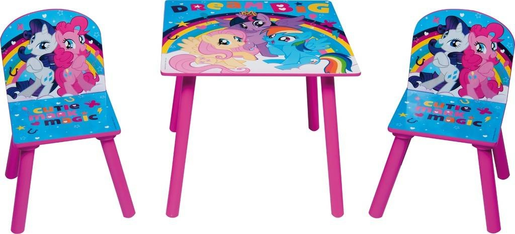 My Little Pony Wooden Table With Chairs Girls Pink Blue