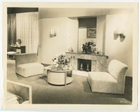 1970S LIVING ROOM INTERIOR W/ MARBLE FIREPLACE MODERN ...