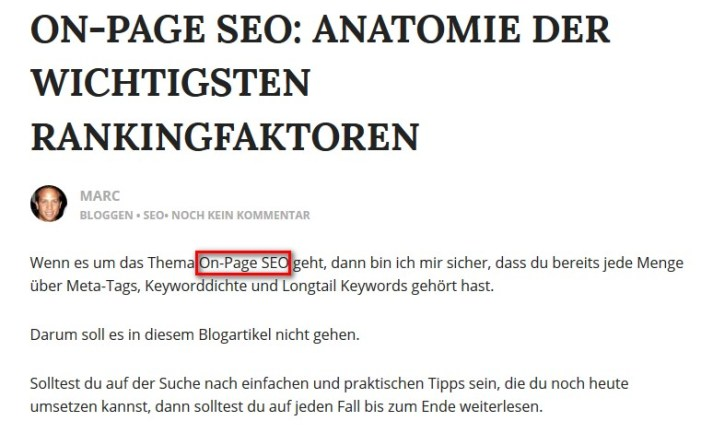 Onpage SEO am Textanfang