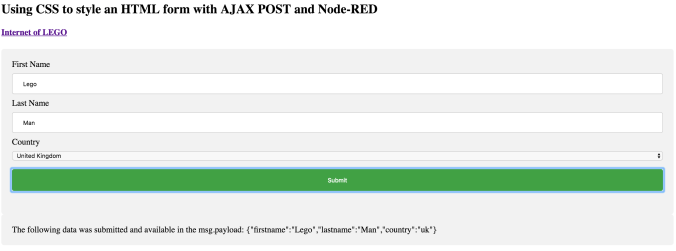 Node-RED Frontend Site - Page Screenshot