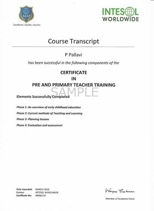 Primary Teachers Training Certificate Course, Pre Primary School