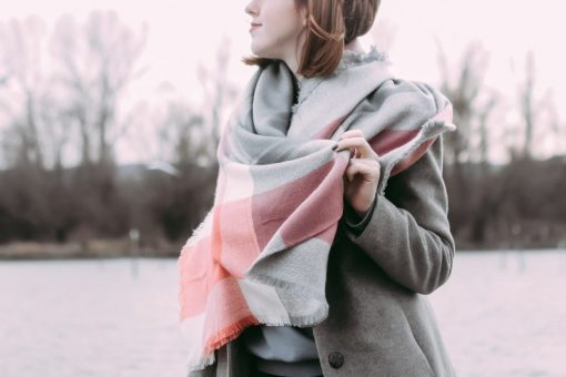 Coral Pink And Gray Blanket Scarf Oversized Plaid Scarf