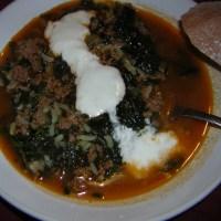 One of my favorite Turkish comfort foods - Kiymali Ispanak (Spinach with ground beef)