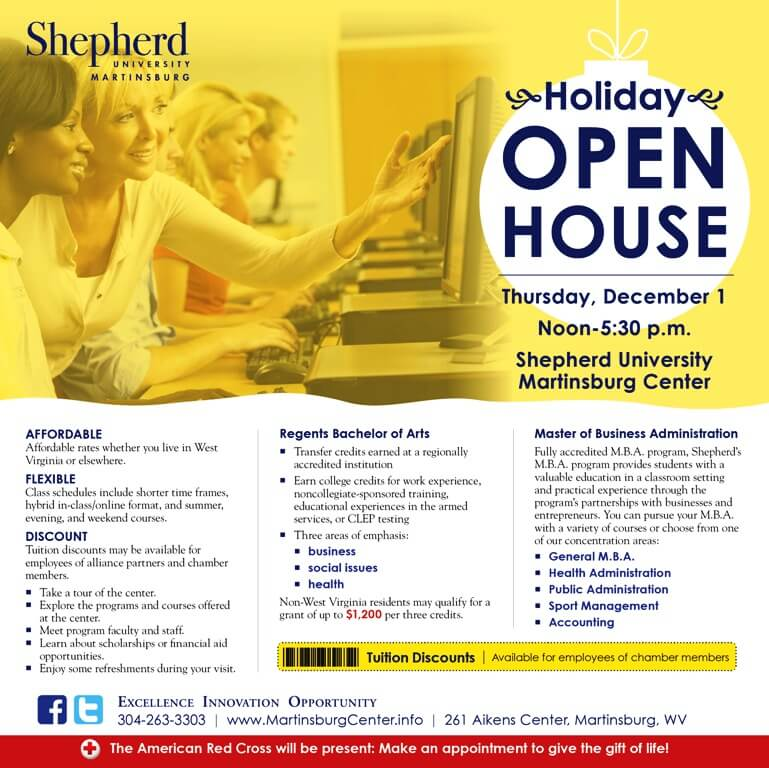 Holiday Open House at Shepherd University Martinsburg Center - Local