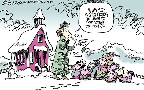 State Education Budget - Mike Keefe Political Cartoon, 01/29/2009